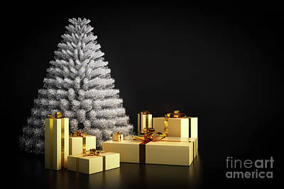 Shiny Photograph - Shining Modern Christmas Tree And Presents On Black Background. by Michal Bednarek
