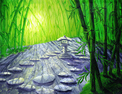 Shinto Lantern In Bamboo Forest Original by Laura Iverson