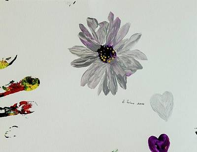 Pallet Knife Drawing - Shiny Flower by Andrea Sims