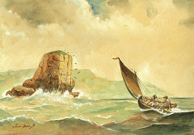 Seastorm Painting - Ship At The Storm by Juan  Bosco