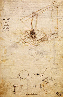 Pen And Ink Drawing Drawing - Ship, From Codex Trivulzianus, Folio 2 Recto by Leonardo Da Vinci