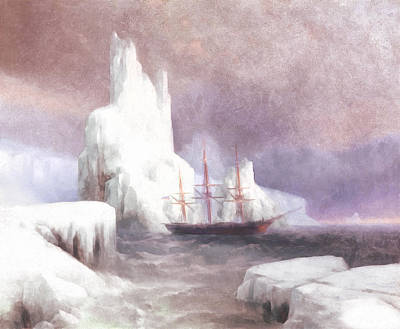 Stormy Weather Mixed Media - Ship In Winter by Georgiana Romanovna