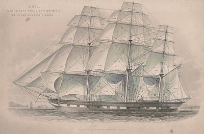 Ship Showing Sails And Rigging Print by Victorian Engraver