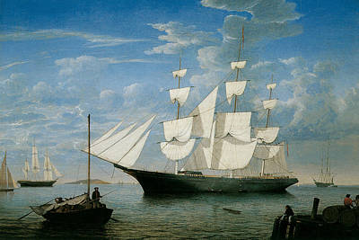 Ship Star Light In Boston Harbor Print by Fitz Hugh Lane