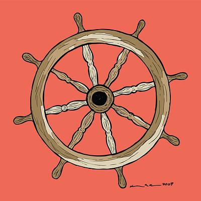 Ship Wheel Print by Karl Addison