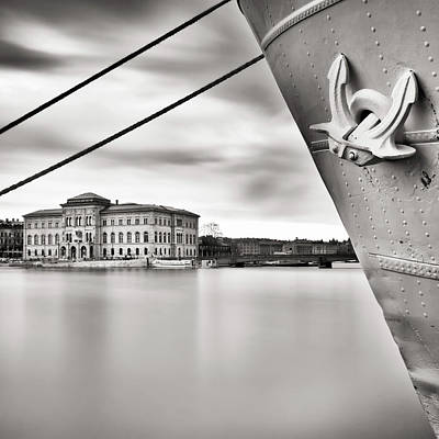 Stockholm Photograph - Ship With Anchor In Harbor by Peter Levi