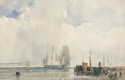 Estuary Painting - Shipping In An Estuary, Probably Near Quilleboeuf by Richard Parkes Bonington