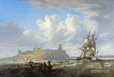 Northumberland Painting - Shipping Off Dunstanborough by John Wilson