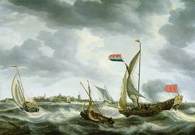 Waving Flag Painting - Ships At Sea  by Bonaventura Peeters