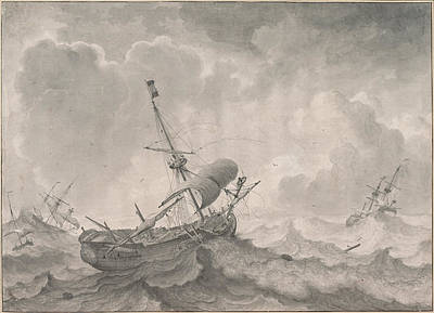 Drawing - Ships On A Stormy Sea by Ludolf Bakhuizen