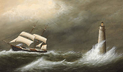Ships Passing Minot's Light Print by Clement Drew