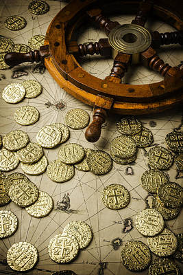 Booty Photograph - Ships Wheel And Gold Coins by Garry Gay