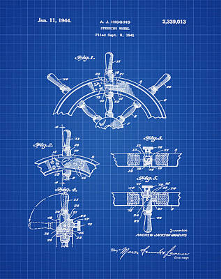 Sailboat Photograph - Ships Wheel Patent 1941 Blueprint by Bill Cannon