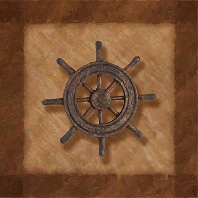 Earth Tones Photograph - Ship's Wheel by Tom Mc Nemar