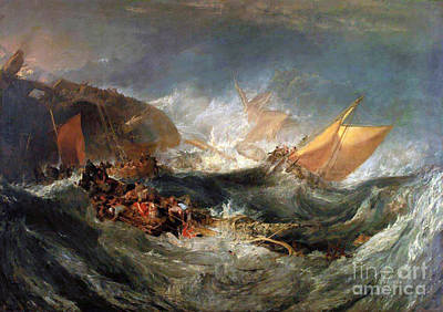 Apprehension Painting - Shipwreck Of The Minotaur by JMW Turner