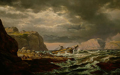 Storm Clouds Painting - Shipwreck On The Coast Of Norway by Johan Christian Dahl