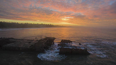 Aerial Photograph - Shipwreck Sunrise by David Levy