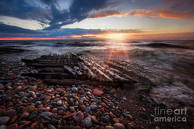Shipwreck Sunrise Print by Todd Bielby