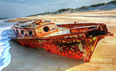 Shipwrecked Boat On Outer Banks Front Side View Print by Dan Carmichael