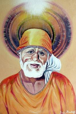 Baba Painting - Shirdi Sai Baba Paintings by Anju Rastogi