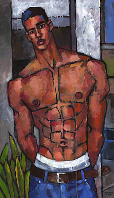 Expressionist Painting - Shirtless Backyard by Douglas Simonson
