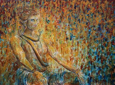 Deity Painting - Shiva Meditation 2 by Nik Helbig