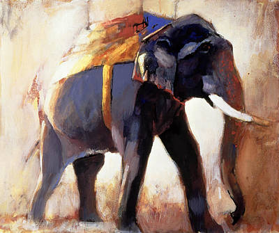Elephant Painting - Shivaji  Khana by Mark Adlington