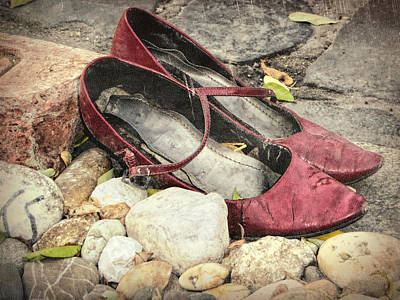 Shoes At The Makeshift Memorial Print by Joan Carroll