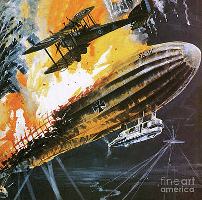 First World War Painting - Shooting Down A Zeppelin During The First World War by Wilf Hardy