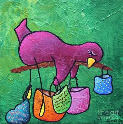 Limbbirds Painting - Shop Till U Drop by LimbBirds Whimsical Birds