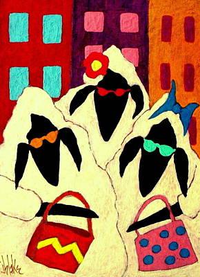 Sheep Painting - Shopping Sheep Divas by John Blake