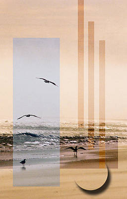 Abstract Beach Landscape Digital Art - Shore Collage by Steve Karol