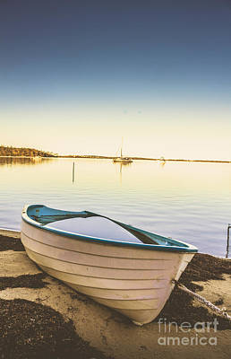 Shored Row Boat In Tasmania Print by Jorgo Photography - Wall Art Gallery