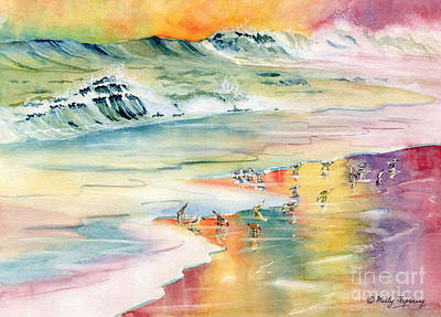 Beach Painting - Shoreline Watercolor by Melly Terpening