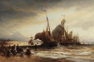 Shorescape At Sheveningen Print by Celestial Images