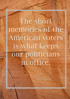 Short Memories Of American Voters 5449.02 Print by M K  Miller