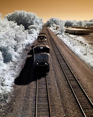 Short Train In Infrared Print by Scott Lacey