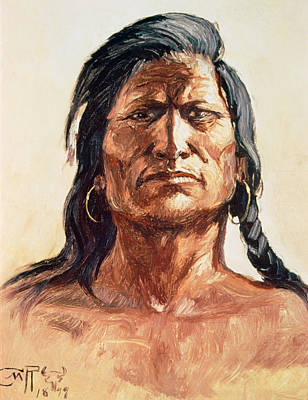 Shoshone Tribesman Print by Charles Marion Russell
