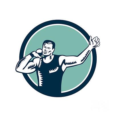 Shot Put Track And Field Athlete Woodcut Print by Aloysius Patrimonio