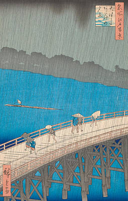 Stormy Weather Drawing - Shower Over Ohashi Bridge by Hiroshige