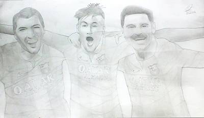 Messi Drawing - Showing Love For Barcelona Trio by Ateeb Tasaddoq