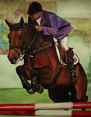 Showjumping Print by Lucy Deane