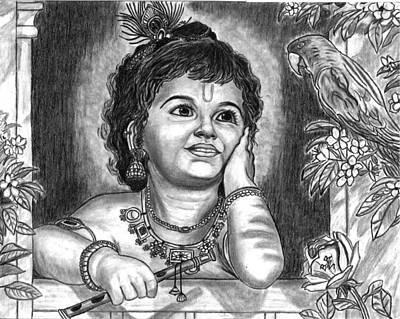Shri Krishna Painting - Shri Krishna by Bhrugen Bhaleeya