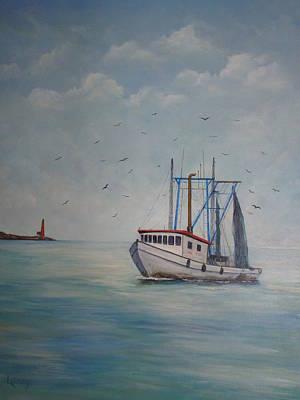Shrimp Boat Print by Carolyn Speer