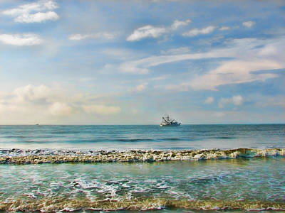 Shrimp Boat Off Kiawah Print by Amy Tyler