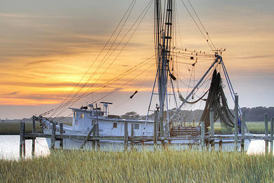Shrimp Boat Sunset Charleston Sc Print by Dustin K Ryan
