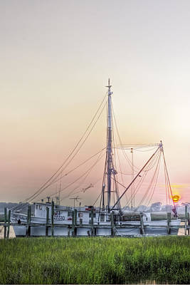 Shrimp Boat Sunset Print by Drew Castelhano