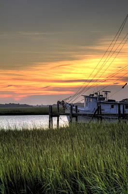 Shrimp Boat Sunset Print by Dustin K Ryan