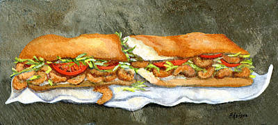 Lettuce Painting - Shrimp Po Boy by Elaine Hodges