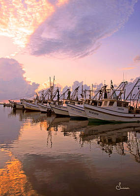 Shrimpboats At Dawn Print by Sally Mitchell